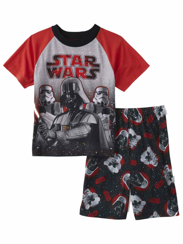 Boys Gray & Red Star Wars Pajamas Darth Vader Shirt & Shorts Sleep Set