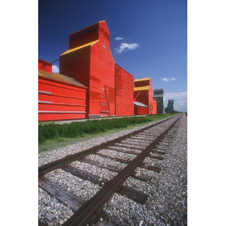 Railway Track And Prairie Grain Elevator Stretched Canvas - Bilderbuch  Design Pics (11 x 18)