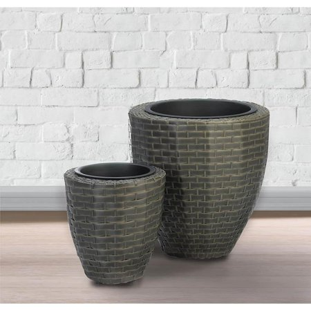 BSD National Supplies Lewiston Wicker Plant Holders - Set of 2 ()