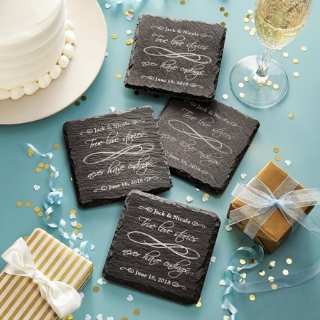 Personalized True Love Never Ends Slate Coasters - Personalized Photo Coasters