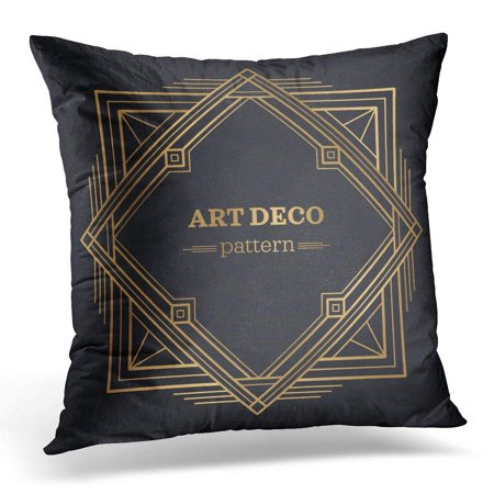 ARHOME Black Geometry Gatsby Abstract Ornamental Patte Orange 1920 Pillows case 18x18 Inches Home Decor Sofa Cushion Cover - Gatsby Deco