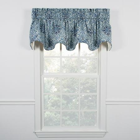 Denim Curtain Panel - Miramar Scallop Valance, Denim