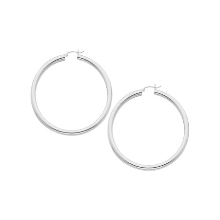 Extra Large Hoop Earrings in Sterling Silver 2 1/2 Inch (4.0mm) - image 1 of 1