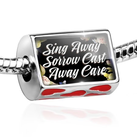 (Bead Floral Border Sing Away Sorrow Cast Away Care Charm Fits All European Bracelets)