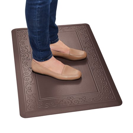 "Anti Fatigue Mat with Skid-Resistant Back, Made of Faux Leather with Scroll Border Design - Easy to Clean Rugs for Kitchen and Laundry Room, 20"" X 30"", Brown"