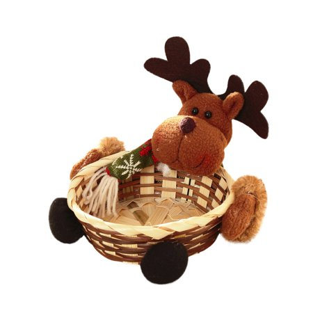 matoen Christmas Candy Storage Basket Decoration Santa Claus Storage Basket Gift B ()