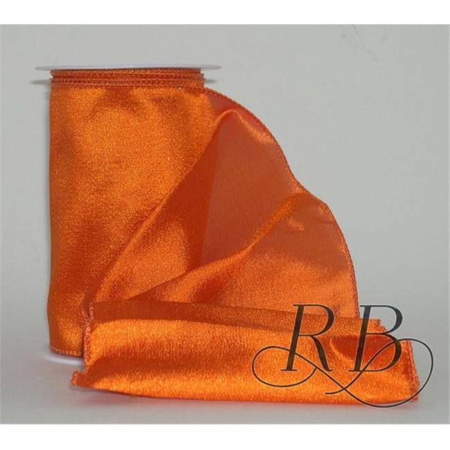Ribbon Bazaar 2555 3.5 in. Wired Shiny Taffeta Plain Ribbon, Orange - 10 Yards