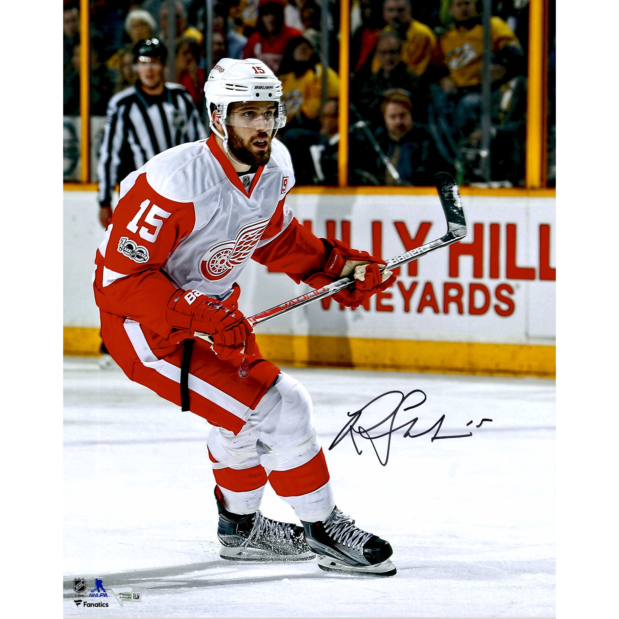 "Riley Sheahan Detroit Red Wings Fanatics Authentic Autographed 16"" x 20"" White Jersey Skating Photograph - No Size"
