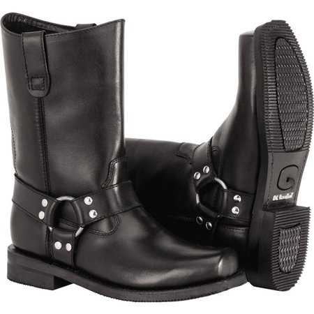 Black Sz 7.5 River Road Traditional Square Toe Harness Boots