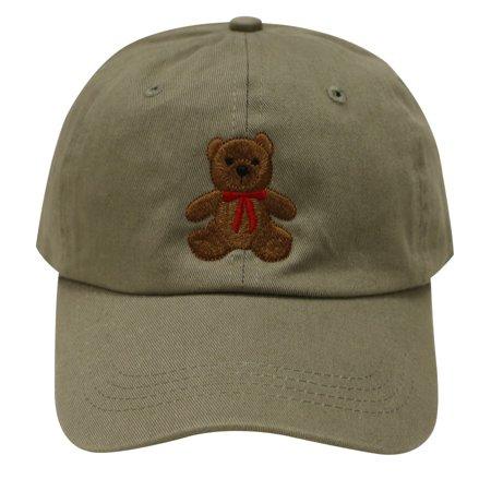 C104 Teddy Bear Cotton Baseball Cap (Olive)