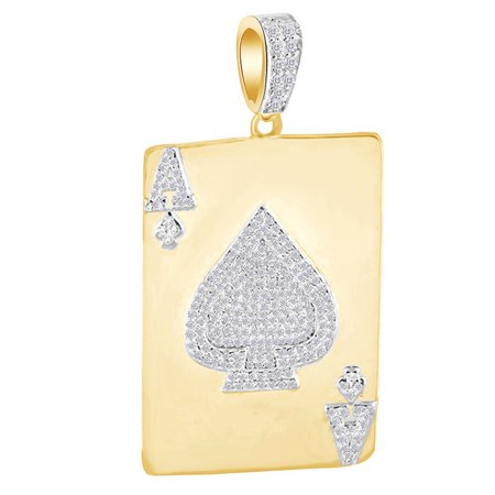 0.3 Cttw White Natural Diamond Hip Hop Jewelry Ace Of Spades Queen Heart Pendant In 14k Solid Yellow Gold