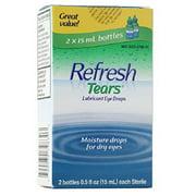 Refresh Tears Lubricant Eye Drops, 2 Bottles 0.5 fl oz ,15mL each Sterile ,30mL