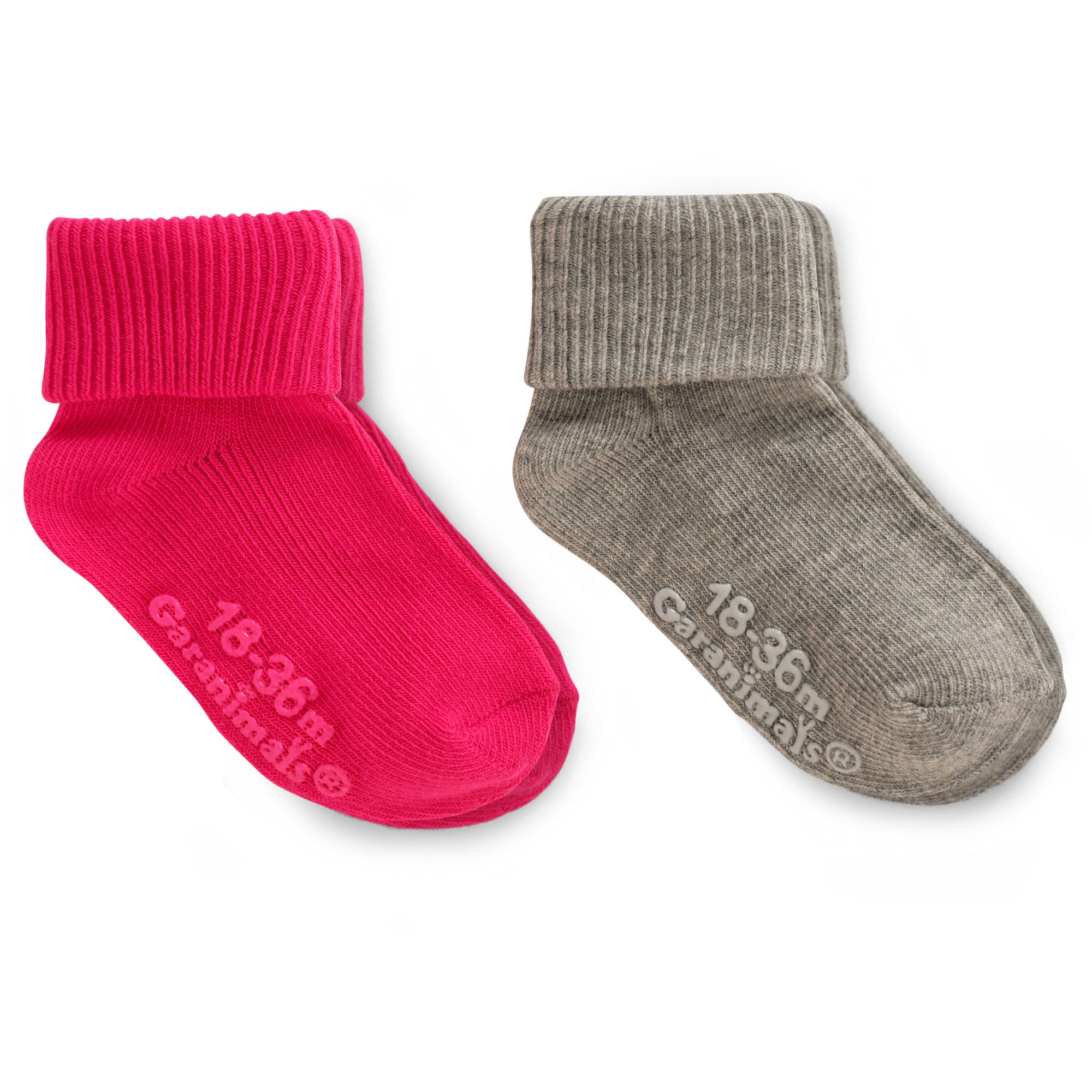 Garanimals Baby Toddler Girls Pink/Grey Gripper Socks Ages NB-5T, 2-Pack