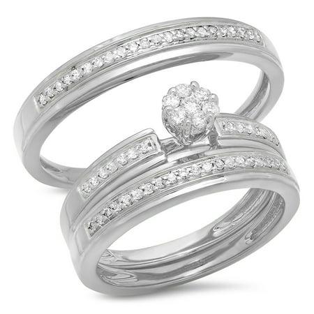 0.40 Carat (ctw) 14K Gold Round White Diamond Men & Women's Cluster Engagement Ring Trio Bridal -