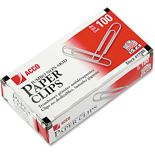 ACCO Nonskid Standard Paper Clips, Jumbo, Silver, 100/Box, 10 Boxes/Pack