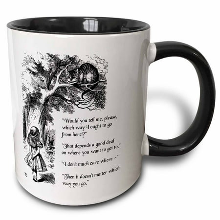 Cat From Alice In Wonderland (3dRose Which way ought I go from here Chesire cat - Alice in Wonderland quote - Two Tone Black Mug,)