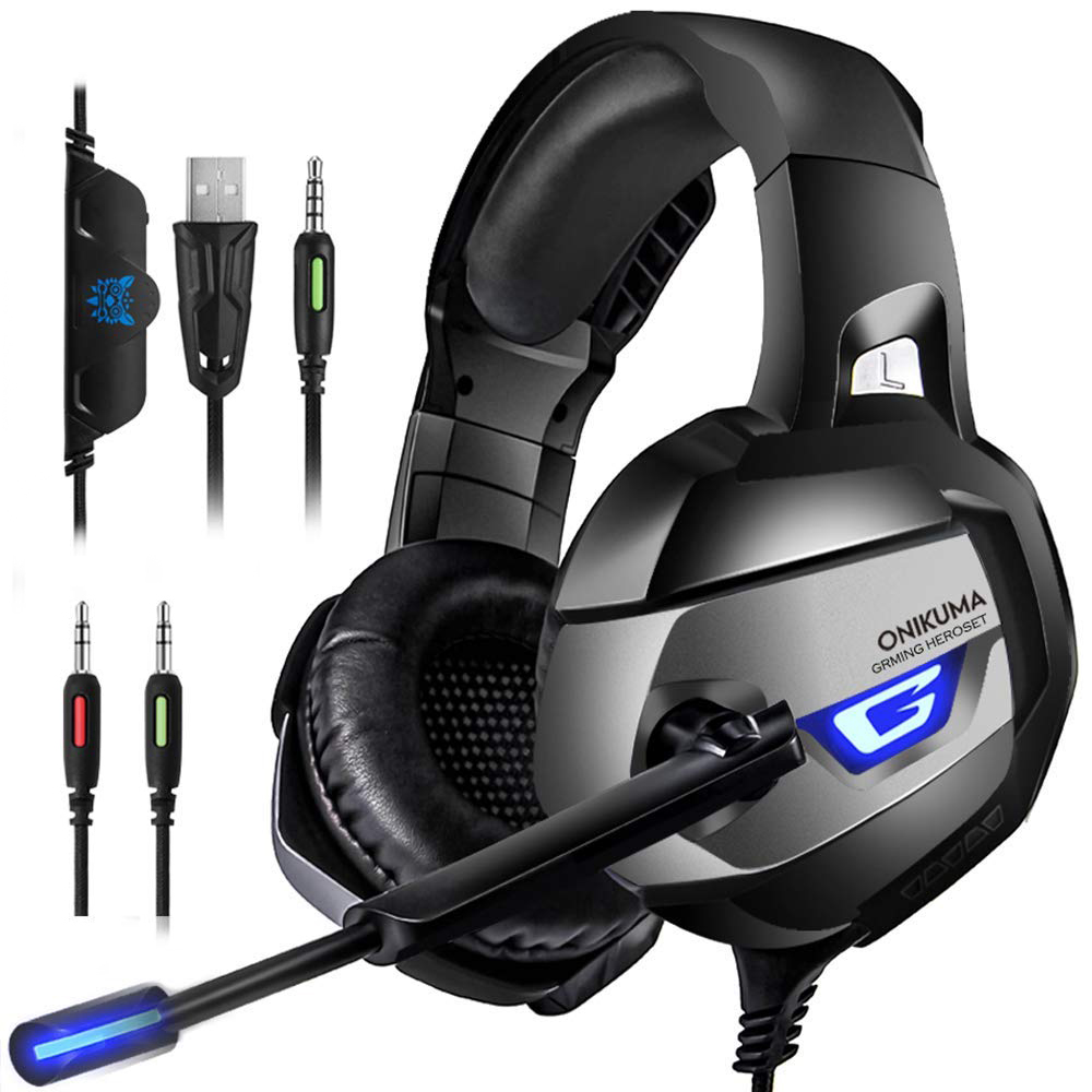 a3db7e8a416 ONIKUMA Gaming Headset - Gaming Headphone for Xbox One, PS4, PC, Stereo USB Headset  with Noise Cancelling Mic and LED Light, Over Ear Headphones for Mac and ...