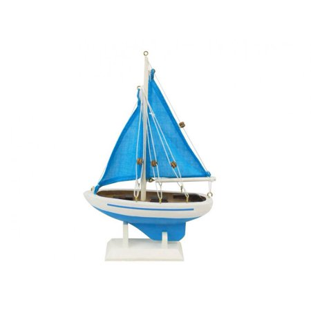 Wooden Light Blue with Light Blue Sails Pacific Sailer Model Sailboat Decoration 9\ - Boat Decorations