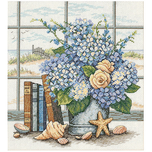 "Dimensions ""Hydrangeas And Shells"" Counted Cross Stitch Kit, 11"" x 12"""