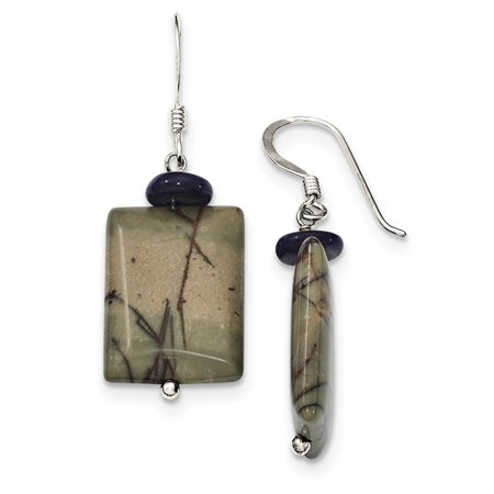 (925 Sterling Silver Black Mother of Pearl & Picasso Jasper Earrings)