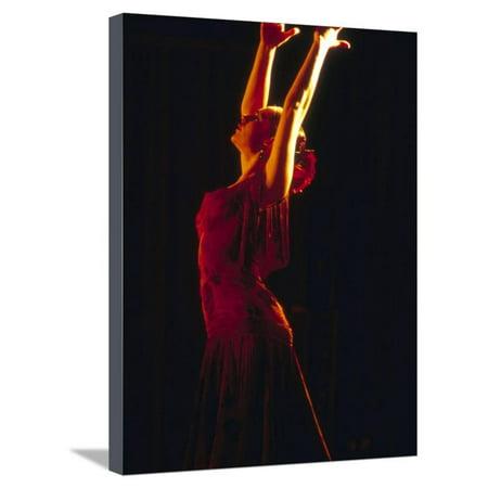 Female Flamenco Dancer, Cordoba, Spain Stretched Canvas Print Wall Art By John & Lisa