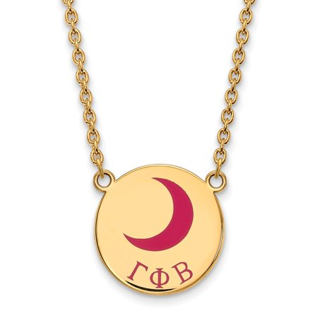 Solid 925 Sterling Silver with Gold-Toned Gamma Phi Beta Small Enl Pendant with Necklace