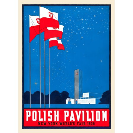A gorgeous homage to the proud country of Poland this poster was designed by JHR or Jerzy Hryniewiecki Bold reds and blues are highlighted with silver inks applied in the flag poles building and