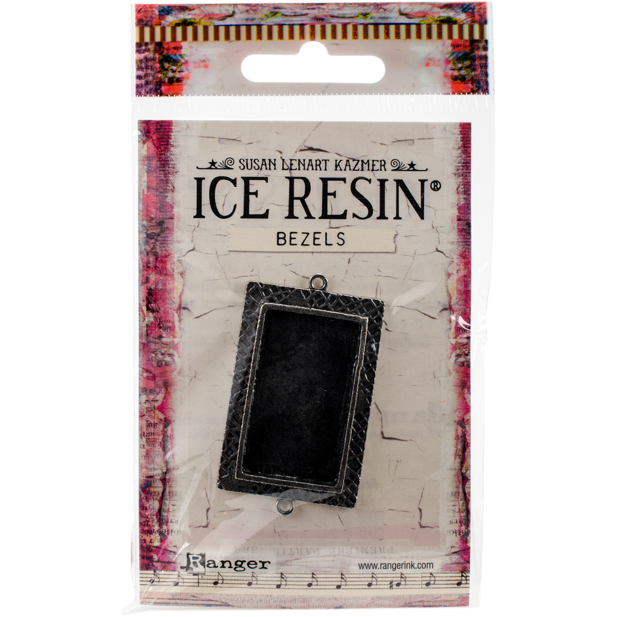 Ice Resin Milan Bezels Closed Back Rectangle Medium-Antique Silver