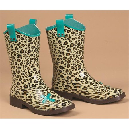 Girls Piper Leopard Cross Square Toe Rain Boots, Brown & Turquoise -