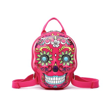 Day of the Dead Hard Shell Sugar Skull Backpack Purse - Cowgirl Backpacks