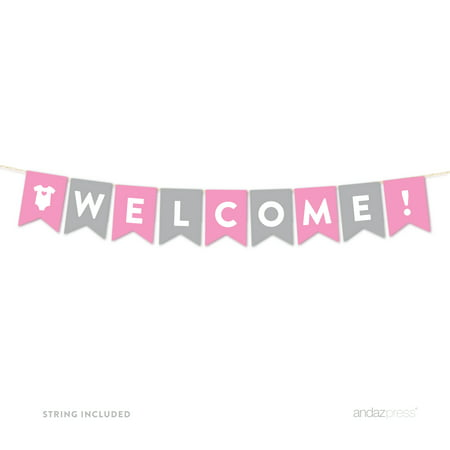 Welcome Gray Girl Baby Shower Hanging Pennant Garland Party Banner