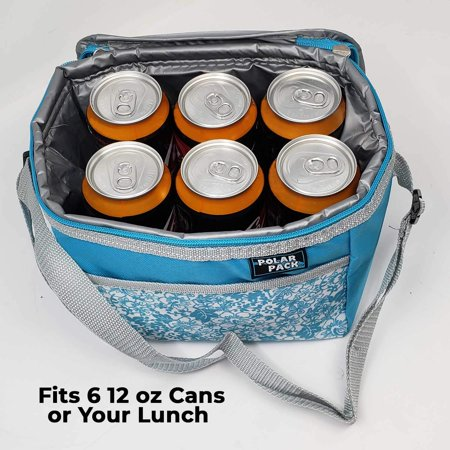 6 Can Cooler Lunch Carry Tote Bag-Soft Adjustable Shoulder Straps Insulated Zipper For Picnic Outdoor Indoor Travel for Summer Events Camping Hiking Yoga](Summer Themed Events)
