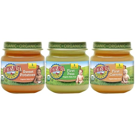 Earth's Best Organic Stage 1 Baby Food, My First Veggies Variety Pack, 2.5 Ounce Jar (12 -