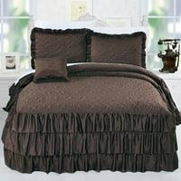 Serenta Ruffle Matte Satin 4 Piece Bed Spread Set