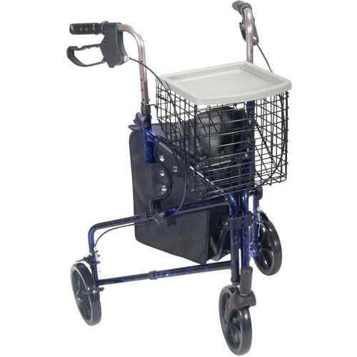 Drive Medical 3 Wheel Walker Rollator with Basket Tray and Pouch, Flame Blue