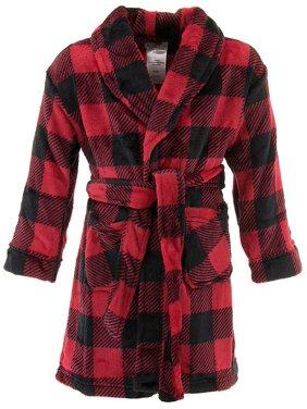 Komar kids boys' red check fleece pajama robe