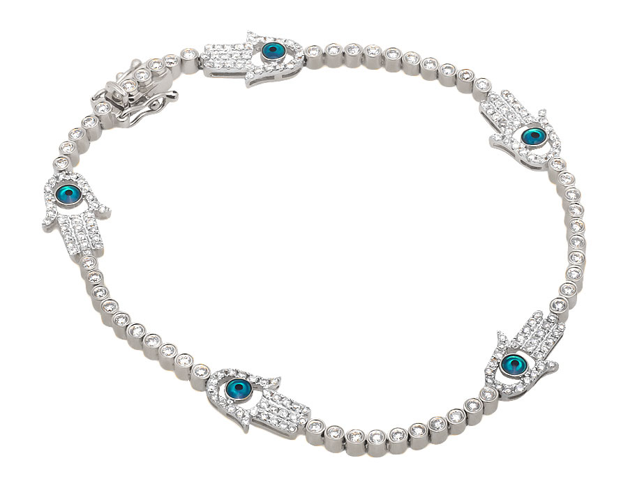 Ladies White Gold Hamsa or Hand of Fatima Evil Eye Diamond 7 inch Bracelet (2.25ct) by Jewelry Unlimited