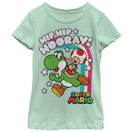 Nintendo Girls' Hip Hip Hooray Yoshi and Toad T-Shirt - Is Yoshi A Girl Or A Boy