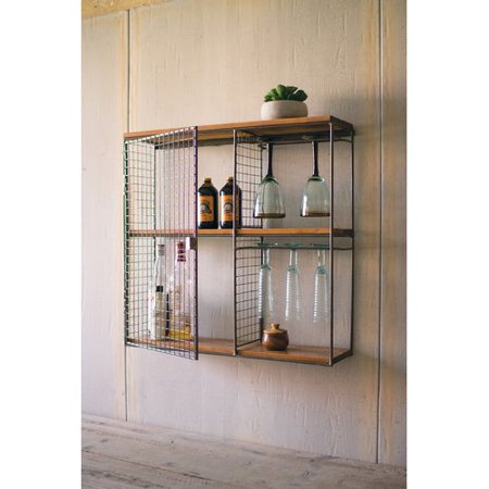 Williston Forge Griffis Square Wood And Wire Wall Mounted Wine Rack