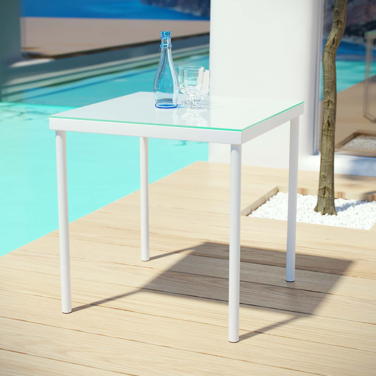 Modway Harmony Outdoor Patio Aluminum Side Table in White