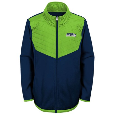Youth College Navy/Neon Green Seattle Seahawks Polar Full-Zip Jacket