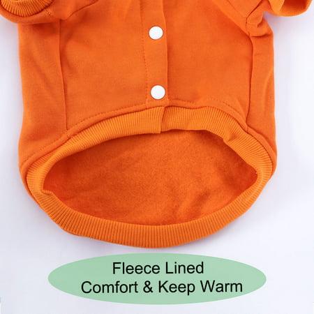 Polyester Dog Sweatshirt Hooded Hoody Pet Winter Clothes Coat w Pocket Orange L - image 5 of 7