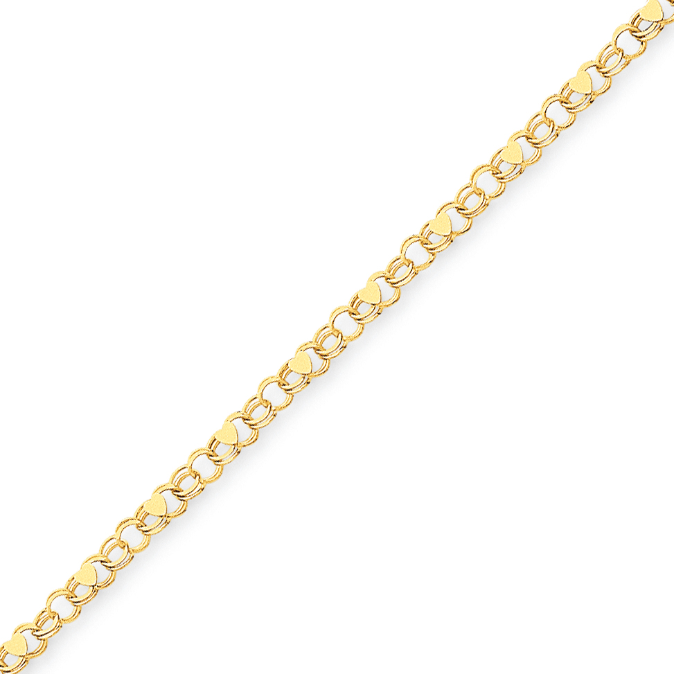 14k Yellow Gold Double Link Heart Charm Bracelet 7 Inch /love Fine Jewelry Gifts For Women For Her - image 4 of 4