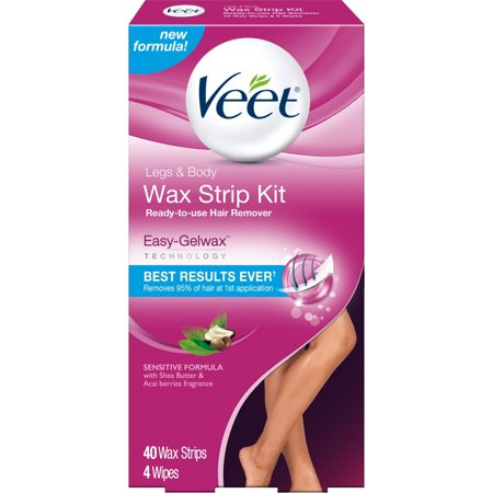 Veet Ready-To-Use Sensitive Formula Wax Strip Kit Hair Remover 40 count