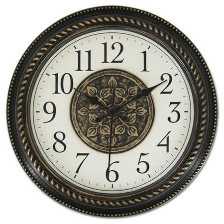 Ashton Sutton Quartz Analog Wall Clock, 16-Inch, 2D Medallion Center Dial, Black Arabic Number, Antique Bronze Plastic Case, Black Hands
