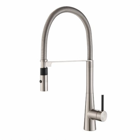 Floor Faucet Package - Kraus Crespo Commercial Style Single Handle Pull Down/Pull Out Standard Kitchen Faucet with Dual-Function Sprayer