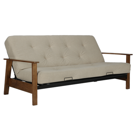 Dhp Bergen Wood Arm Futon With 6 Coil Mattress Tan Linen