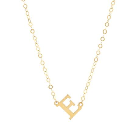 Brilliance Fine Jewelry 10K Yellow Gold Sideways Block Initial Letter A-Z Necklace, 18