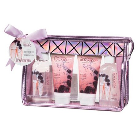 Bath and Body Travel Size Gift Set for Women, in Rose Champagne Blackberry Fragrance, includes a Hand Cream, Body Lotion, Shower Gel, and Bubble Bath, all with Shea Butter and Vitamin