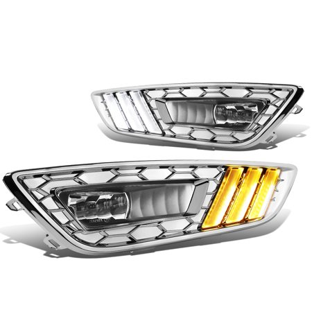 For 2015 to 2017 Ford Focus LED DRL Fog Lights + Build -in Turn Signal +  Wiring Harness + Chrome Bezel Clear Lens 16 Left+Right